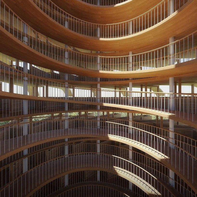 """Солнечное деревоИндийская архитектурная студия Nudes представила концептуальный проект многоуровневой прогулочной и смотровой башни """"Солнечное дерево"""" высотой 35м.Сооружение состоит из центрального стального ядра и множества деревянных консольных обзорных площадок, закручивающихся по спирали по мере подъема. Башня увенчана всепогодной стеклянной капсулой, откуда открывается 360-градусный обзор.Все обзорные площадки имеют продолжение в виде изогнутых """"листьев"""" с установленными на них солнечными панелями. Поэтому, кроме обзорно-прогулочной площадки, сооружение будет выполнять функцию небольшой солнечной электростанции. О генерируемой мощности, а также о предполагаемом месте строительства башни, в пресс-релизе не сообщается.#концепции #деревянныеконструкции #энергетика #индия"""