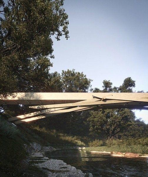 В Италии строят деревянный мост по схемам Леонардо да ВинчиНовый пешеходный мост будет расположен в рекреационной зоне Parco Del Lura и соединит районы Манеры и Ровелласка в Кадораго, месте где сосредоточены многочисленные пешеходные и велосипедные маршруты. Для строительства моста разработчик проекта, студия Luca Poian, использует схемы, описанные в исследованиях Леонардо да Винчи.Несущая конструкция моста, разработанная ученым еще в XV веке, состоит продольных и поперечных элементов, которые под действием сжимающих нагрузок включаются в совместную работу, придавая всему сооружению необходимую прочность и устойчивость без каких-либо крепежных деталей. В своем проекте архитекторы переосмысливают и адаптируют оригинальную схему моста, используя современные конструкции из клееной древесины. Это позволит создать безопасное и долговечное сооружение пролетом порядка 60 метров.Разработчики проекта считают, что замысловатая конструкция моста сделает его местной достопримечательностью и привлечет туристов. К тому же, изящное деревянное сооружение как нельзя лучше впишется в окружающую природную среду парка.