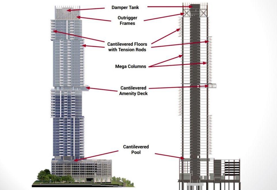 The Independent – небоскреб с нагромождением объемовВ Остине (США) возведено 58-этажное здание «The Independent» высотой 212 метров. Особенность проекта архитектурного бюро Rhode Partners – необычный внешний вид башни. Она выглядит как пять параллелепипедов разных размеров, небрежно уложенных друг на друга.Основную часть площадей занимают частные квартиры. На 34 этаже дополнительно расположен блок, консольно выступающий на 9 метров и имеющий панорамное остекление. Этот блок занимают общественные помещения и смотровая площадка. На 9м этаже расположен бассейн, также решенный в консольных конструкциях. Верхнюю часть здания занимает оборудование инерционного демпфера.Здание смешенного использования позиционируется как «вертикальный район». Это значит, что внутри него имеется все необходимое для жизни и развлечений. В проекте реализован ряд «зеленых» технологий – например, сбор и аккумуляция тепловыделений от работы оборудования, генерация вторичной электроэнергии от работы лифта.#небоскребы #сша