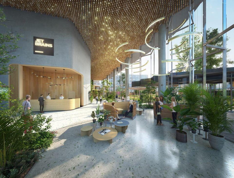 В Санкт-Петербурге планируется возвести необычное офисное здание с зигзагообразным атриумомИзвестное голландское бюро UNStudio, которое занимается разработкой проекта здания, представило визуализации объекта. Новое головное офисное здание чешской софтверной компании JetBrains будет располагаться на берегу Финского залива, рядом с комплексом уже существующих зданий этой компании.Здание состоит из двух объемов, разделенных зигзагообразной стеклянной стеной, тянущейся по диагонали через весь фасад. За ней расположен масштабный многоуровневый атриум, возвышающийся до отметки пятого этажа. Внутри атриума предусмотрены зеленые стены и значительное озеленение растениями в горшках.Многоуровневое пространство атриума будет служить местом доступа к основным отделам штаб-квартиры компании, а также местом социального взаимодействия сотрудников.#общественныездания #россия
