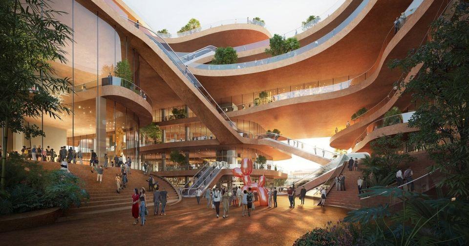 """Террасы Шэньчжэня - необычный многофункциональный центрГолландское бюро MVRDV разработало проект многофункционального центра """"Shenzhen Terraces"""", который будет располагаться в университетском районе Лунган китайского мегаполиса Шэньчжэнь. Главной особенностью комплекса является его форма, имитирующая скальные террасы: здание выполнено в виде штабеля горизонтальных плит перекрытий, каждая из которых имеет свою уникальную форму с консольными выступами.На площади почти 100 000 квадратных метров размещены более 20 объектов различного назначения, среди которых образовательные центры, театр, музей, коммерческие предприятия, транспортный хаб, общественные зоны и зеленые насаждения. Большое внимание уделено наружному благоустройству, организации спортивных площадок (скалодром, бассейн, теннис) с озеленением тропической растительностью.#общественныездания #китай"""