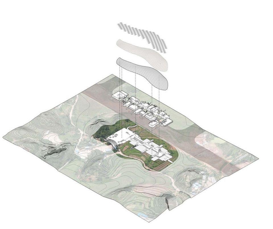 Гигантский стальной навес для музея садового искусства в Наньнине (Китай)Музей садового искусства - это главная площадка проведения 12-й Китайской (Наньниньской) Международной Садовой выставки. Основная особенность музея - огромный навес, накрывающий комплекс увязанных между собой выставочных кластеров, и повторяющий естественный ландшафт холмистой местности.Стальная конструкция навеса накрывает площадь более 25,5 тысяч квадратных метров. Под ней расположены как открытые зоны музея, так и полноценные здания. Для крытых выставочных залов навес создает дополнительное затенение, а открытые зоны превращает в уютные площадки на свежем воздухе, защищенные от ветра и дождя.#навесы #китай