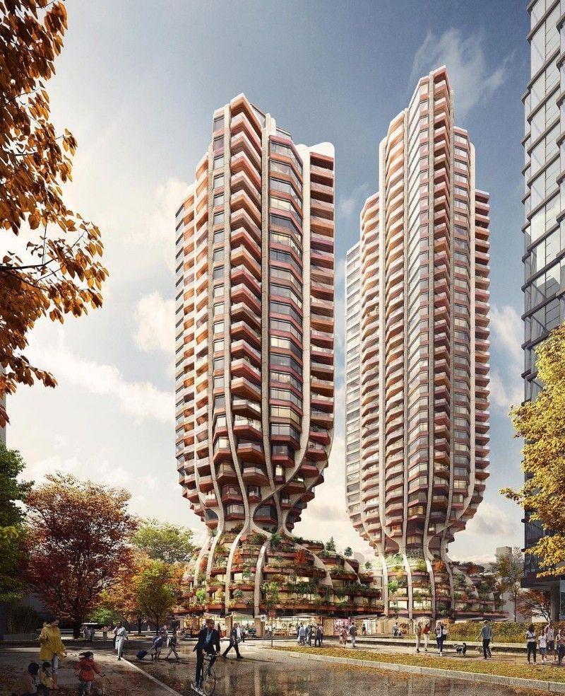 """Проект """"башен-деревьев"""" в Ванкувере от Heatherwick StudioАрхитектурная фирма Heatherwick Studio представила впечатляющие визуализации проекта двух башен в Ванкувере (Канада). Два здания высотой 105 и 117 метров объединены в комплекс смешанного использования """"1700 Alberni"""", включающий жилую часть, офисы и коммерческие объекты.Проект вдохновлен деревьями и каждая часть здания соответствует определенному элементу дерева: значительно озелененный подиум стилизован под корни, обволакивающие часть улицы, выше располагаются ствол и крона.Концептуальное решение разработано для местных застройщиков Bosa Properties и Kingswood Properties и в настоящее время ждет одобрения для дальнейшего проектирования.#небоскребы #канада"""