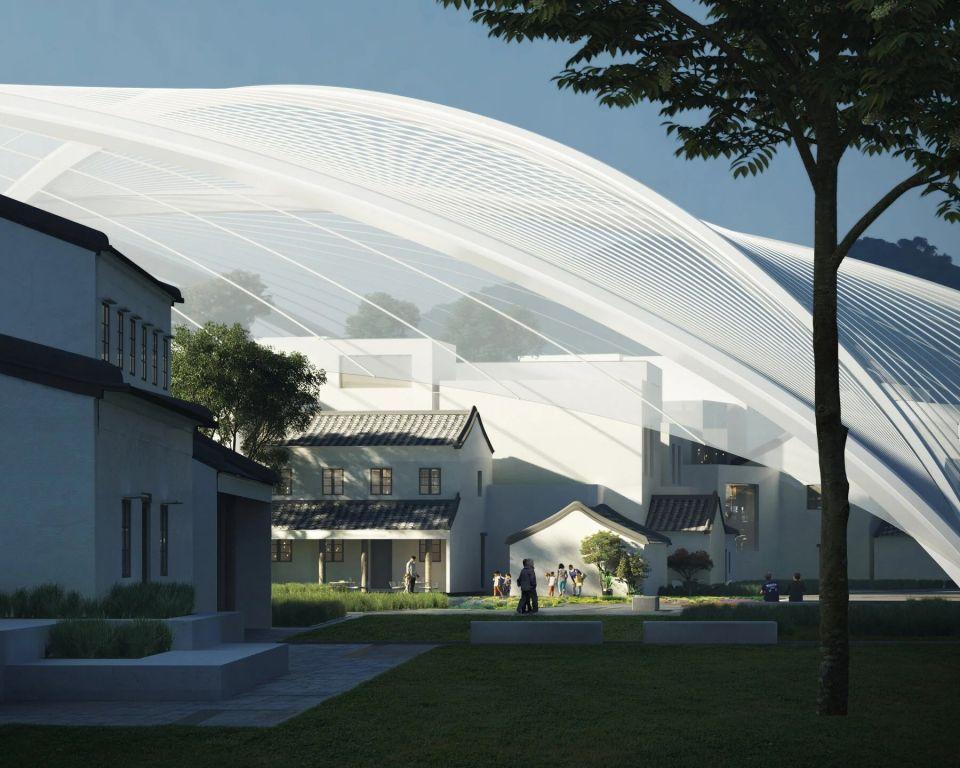В Китае планируют накрыть куполом историческую деревнюИзвестное пекинское архитектурное бюро MAD Architects разработало предложение по сохранению оставшейся части исторической деревни Иньчэн 19-го века, накрыв ее огромным куполом. Под защиту купола попадут отреставрированные постройки, а также 500-летнее дерево баньян.Проект будет разработан в рамках реконструкции района Чжухай со строительством культурного центра. В первоначальном облике будут воссозданы не только здания, но и улицы деревни. При этом офисная часть культурного центра будет размещена непосредственно в исторических зданиях.Максимальная высота защитного купола составит 45 метров. Конструкция купола будет состоять из главной и второстепенных арок с натянутой мембраной. По мнению архитекторов огромный купол должен хорошо сочетаться с небольшой малоэтажной застройкой деревни. Такая комбинация старого и нового будет выглядеть сюрреалистично.#история #купольныездания #китай