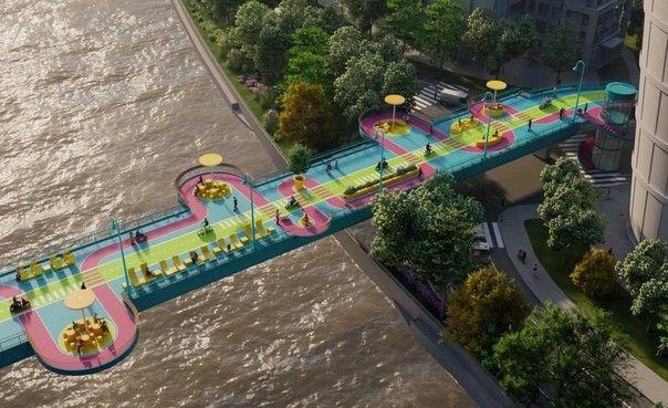 """Как сделать из пешеходного моста достопримечательностьОригинальный пешеходный мост Puji Road протяженностью более километра построен в 1997 году. Сооружение пересекает ручей Сучжоу и связывает районы города Шанхай - Цзиньань и Жабей. В 2009 году мост уже был реконструирован, с увеличением пропускной способности и обеспечением доступа для велосипедов и небольших скутеров.Однако все это время сооружение рассматривалось только как средство преодоления водной преграды и связи между районами города. Специалисты архитектурного бюро 100architects предложили взглянуть на этот пешеходный мост, как на новую достопримечательность в своем проекте """"High loop"""" (название, видимо, имеет отсылку к знаменитому Нью-Йоркскому парку на эстакаде - """"High Line"""" ).Во-первых архитекторы предложили смелые и яркие цветовые решения, во-вторых, предусмотрели несколько различных трасс – прямую желтую """"быструю"""" для велосипедов и петляющую, пурпурную """"прогулочную"""" - для пешеходов. Для петляющей трассы предусмотрены полукруглые консольные выступы-площадки по обе стороны мостового сооружения. Фоном для дорожек служит спокойный голубой цвет.Пешеходный мост изобилует предметами городской мебели и малых архитектурных форм."""