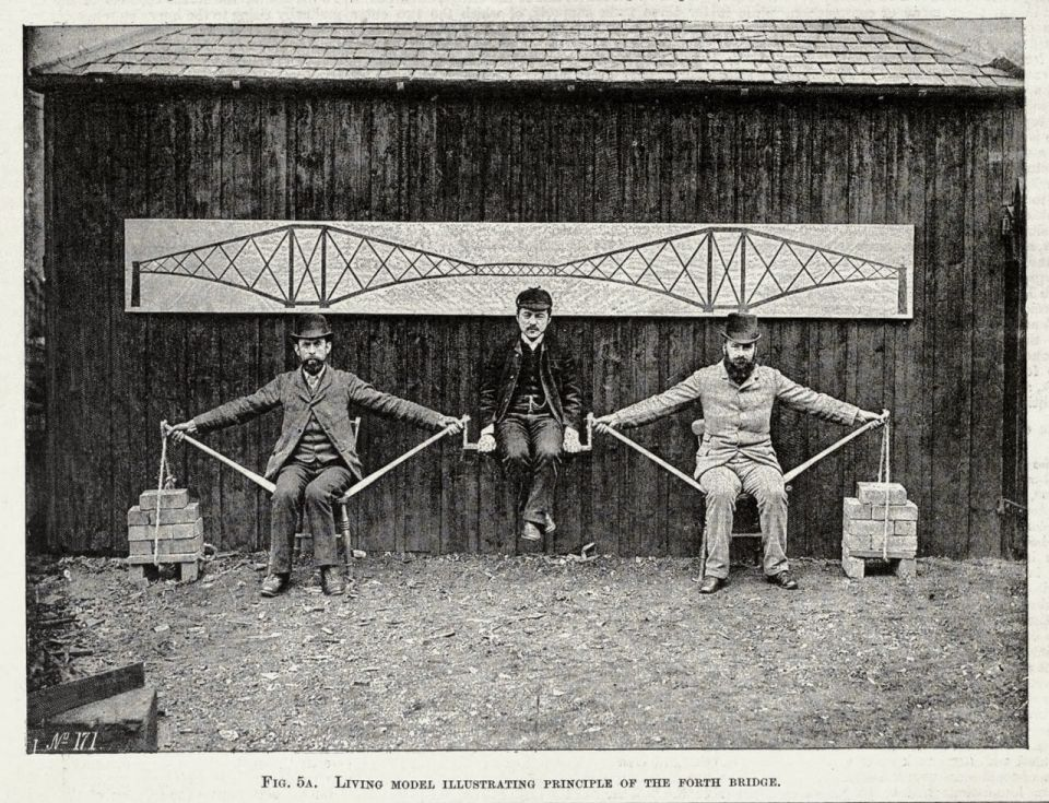 Покрасить Форт БриджФорт Бридж — железнодорожный мост через залив Ферт-оф-Форт у восточного берега Шотландии. Возведённый с 1882 по 1890 годы, мост стал одним из первых консольных мостов в мире, а также несколько лет имел максимальную длину пролёта. Мост соединяет столицу Шотландии город Эдинбург с областью Файф.Проект моста разработан под руководством двух инженеров - Джона Фоулера и Бенджамина Бэйкера. Сооружение имело консольную конструкцию, а в качестве основного материала использовалась сталь. Согласно техническому заданию, сооружение не должно было вибрировать даже при проходящем по мосту поезде. При проектировании использовался опыт американского инженера Джеймса Идса, построившего первый крупный стальной мост через Миссисипи в 1874 году.К концу 1885 года рабочие завершили установку гранитных быков, восемь из которых находились в воде. Подготовка фундамента подводных опор производилась рабочими с помощью кессонов — массивных металлических цилиндров, погруженных на глубину 27 м.В 1886 году начались работы по возведению опор, на которые ушло неслыханное количество стали — 54 860 тонн, произведённых на двух сталелитейных производствах Шотландии и одном в Уэльсе. 6,5 млн заклёпок общим весом 4 267 тонн были сделаны в Глазго. Центральный пролёт был закрыт 14 ноября 1889 года.Церемония открытия моста 4 марта 1890 года проводилась принцем Уэльским (Эдуард VII) в присутствии Бенджамина Бэйкера и Гюстава Эйфеля. Общая стоимость проекта составила 3,2 млн фунтов стерлингов. Открытие моста сопровождалось дискуссиями о его эстетической составляющей — поэт и художник Уильям Моррис назвал мост «верхом уродства».При строительстве моста погибло 57 человек, причём ещё восьмерых спасли с лодок, дежуривших под мостом (хотя относительно точного числа жертв существуют сомнения).Мост имеет три основные опоры высотой 100,6 м. Собранные из труб диаметром 3,6 м консоли поддерживают рукава длиной по 207,3 метра, соединённые перемычками длиной 106,7 м, что делает суммарное расстояние пр