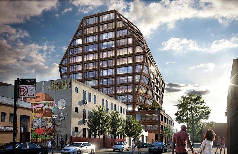 """В Бушвике, Нью Йорк, проектируют необычный офисный комплекс из кирпичаРазработкой проекта «Bushwick Generator» занимается американская проектная компания HWKN. Здание имеет необычную форму усеченного куба, соответствующую динамичному характеру района. Новый комплекс расположен на месте старой промышленной застройки и частично возведен на фундаментах, сохранившихся после демонтажа производственного цеха.Скульптурное здание площадью 37160 м2 планируется построить из кирпича с отсылом к кирпичной архитектуре Нью-Йорка начала века. Концепция проекта противопоставляет живые и энергичные формы старой промышленной архитектуры современным """"стерильным"""" офисным паркам кремниевой долины.#каменныеконструкции #общественныездания #сша"""